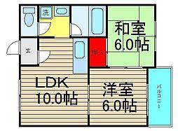 タウンハウス本田[703号室]の間取り