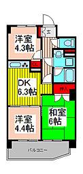 ライオンズマンション浦和県庁前[2階]の間取り