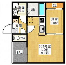 JR宇野線 備前西市駅 徒歩19分の賃貸アパート 3階1LDKの間取り