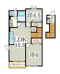 ニューロード6M[2階]の間取り
