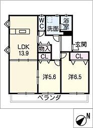 プレイン横山 B[2階]の間取り
