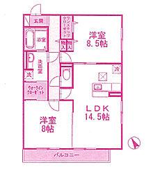 神奈川県川崎市宮前区有馬5丁目の賃貸アパートの間取り