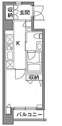 東京メトロ日比谷線 中目黒駅 徒歩5分の賃貸マンション 3階1Kの間取り