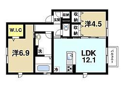 (仮称)桜井市安倍木材団地ハイツ 2階2LDKの間取り