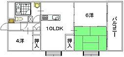 前田ハイツII[4階]の間取り