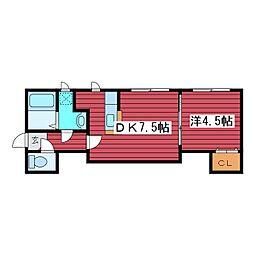 北海道札幌市豊平区福住一条4丁目の賃貸アパートの間取り