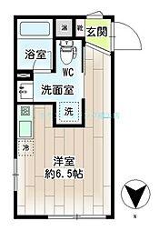 リチェンシア横浜三ッ沢 4階ワンルームの間取り