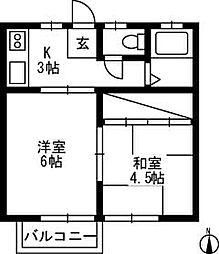 サンシティ江田[B202号室]の間取り