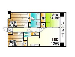 ダイアパレス北六甲[4階]の間取り