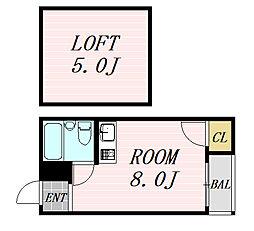 ルミナス福島 5階ワンルームの間取り