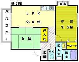 サンガーデン宮司 C[2階]の間取り