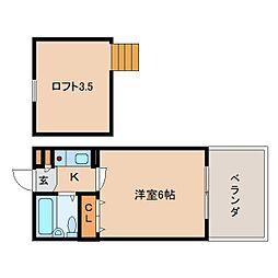 奈良県生駒市東松ケ丘の賃貸アパートの間取り