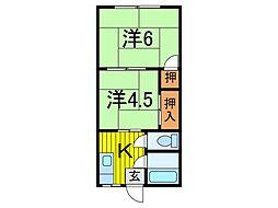 日雄コーポ[202号室]の間取り