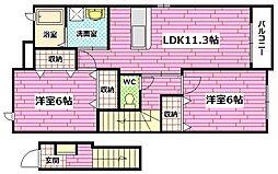 広島県広島市安芸区瀬野5の賃貸アパートの間取り