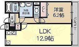 泉北高速鉄道 深井駅 徒歩14分の賃貸マンション 3階1LDKの間取り