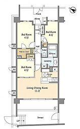 東急田園都市線 たまプラーザ駅 徒歩3分の賃貸マンション 1階3LDKの間取り