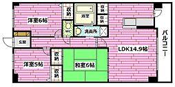 広島県広島市安佐南区相田1丁目の賃貸マンションの間取り