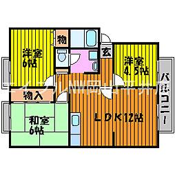 岡山県岡山市東区西大寺の賃貸アパートの間取り