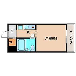 近鉄奈良線 富雄駅 徒歩3分の賃貸マンション 4階ワンルームの間取り