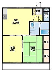 板倉コーポラス B[1階]の間取り