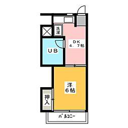 サンリバーハイツ[3階]の間取り
