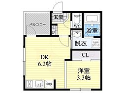 仮称)ハーモニーテラス大宮1丁目B棟 3階1DKの間取り