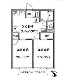ドミール片岡[102号室]の間取り