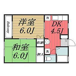 千葉県千葉市若葉区桜木6丁目の賃貸アパートの間取り