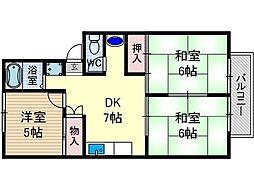 ハイツ山田II[1階]の間取り