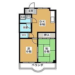 第二グレース安田[5階]の間取り