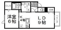 CUBEマンションII 1階1LDKの間取り
