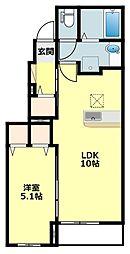 名鉄西尾線 福地駅 3.5kmの賃貸アパート 1階1LDKの間取り