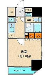 都営三田線 御成門駅 徒歩6分の賃貸マンション 2階1Kの間取り