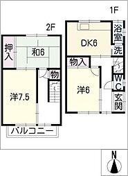 [タウンハウス] 愛知県あま市本郷八尻 の賃貸【/】の間取り