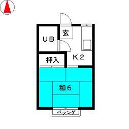 ハイツ久能山[1階]の間取り