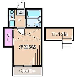 神奈川県横浜市鶴見区北寺尾6の賃貸アパートの間取り