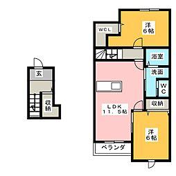 リバーサイドシティ B[2階]の間取り