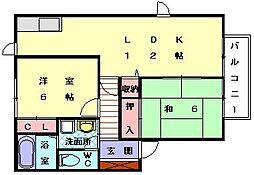 ブル−バレ−花見Ⅱ[2階]の間取り