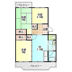 ハイツ西酒匂2号棟[203号室]の間取り