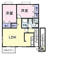 TOWN HOUSE A[201号室]の間取り