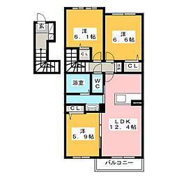 シャーメゾン レブレントB[2階]の間取り