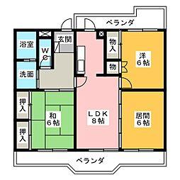 第3トータス[3階]の間取り
