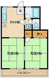 千葉県松戸市栄町西1丁目の賃貸アパートの間取り