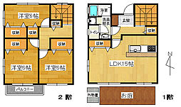 [テラスハウス] 静岡県三島市谷田 の賃貸【/】の間取り
