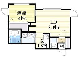 JR函館本線 手稲駅 徒歩7分の賃貸マンション 1階1LDKの間取り