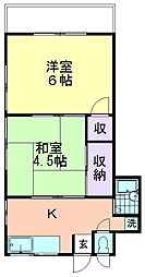 ハイツ田中[102号室]の間取り