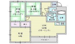 大阪モノレール本線 山田駅 徒歩7分の賃貸マンション 2階3LDKの間取り