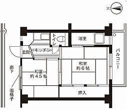 神奈川県横須賀市平和台の賃貸マンションの間取り