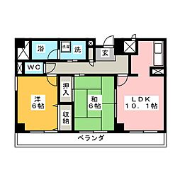 コンフォートピア・アツミ[3階]の間取り