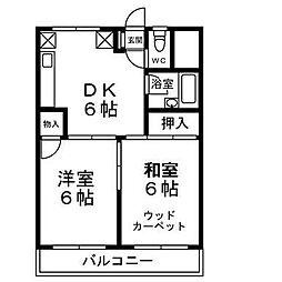 神奈川県厚木市山際の賃貸マンションの間取り